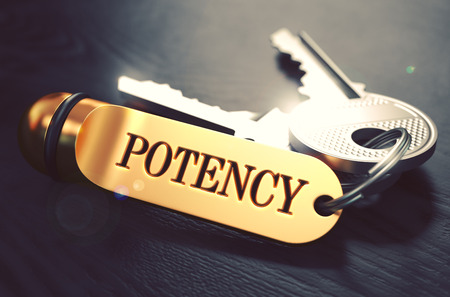 Potency - Bunch of Keys with Text on Golden Keychain. Black Wooden Background. Closeup View with Selective Focus. 3D Illustration. Toned Image.