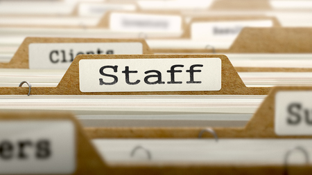 Staff Concept. Word on Folder Register of Card Index. Selective Focus.