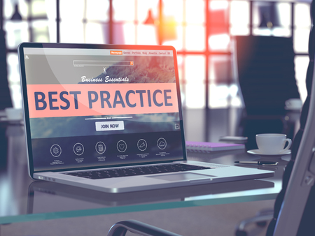 Photo for Best Practice Concept Closeup on Laptop Screen in Modern Office Workplace. Toned Image with Selective Focus. - Royalty Free Image