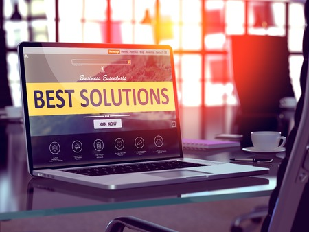 Photo pour Best Solutions Concept Closeup on Laptop Screen in Modern Office Workplace. Toned 3d Illustration with Selective Focus. - image libre de droit