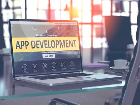 Photo pour App Development Concept Closeup on Laptop Screen in Modern Office Workplace. Toned Image with Selective Focus. 3d Render. - image libre de droit