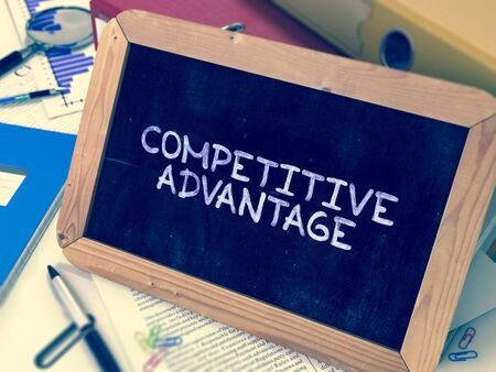 Hand Drawn Competitive Advantage Concept  on Chalkboard. Blurred Background. Toned 3d Image.