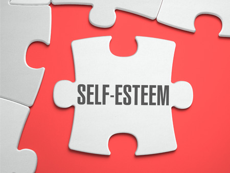 Self-Esteem - Text on Puzzle on the Place of Missing Pieces. Scarlett Background. Closeup. 3d Illustration.