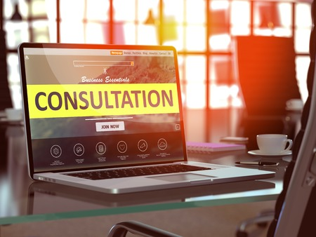 Consultation Concept Closeup on Laptop Screen in Modern Office Workplace. Toned Image with Selective Focus. 3D.