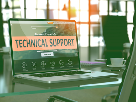 Photo pour Technical Support Concept. Closeup Landing Page on Laptop Screen  on background of Comfortable Working Place in Modern Office. Blurred, Toned Image. 3d Render. - image libre de droit