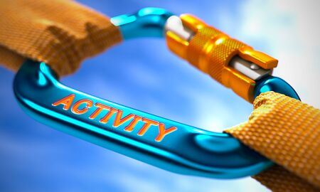 Blue Carabiner between Orange Ropes on Sky Background, Symbolizing the Activity. Selective Focus. 3D Render.
