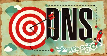 Photo pour DNS - Domain Name Server - Drawn on Grunge Poster with Long Shadows. Internet Concept. - image libre de droit
