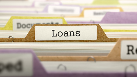 Loans Concept on File Label in Multicolor Card Index. Closeup View. Selective Focus. 3D Render.
