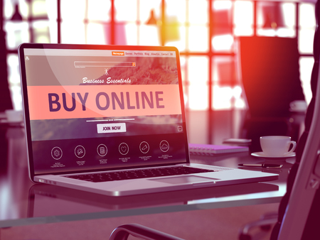 Photo pour Buy Online Concept. Closeup Landing Page on Laptop Screen  on background of Comfortable Working Place in Modern Office. Blurred, Toned Image. 3D Render. - image libre de droit