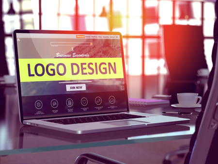 Photo for Modern Workplace with Laptop showing Landing Page with Logo Design Concept. Toned Image with Selective Focus. 3D Render. - Royalty Free Image