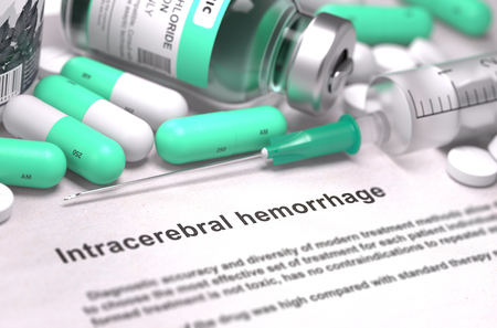 Intracerebral Hemorrhage - Printed Diagnosis with Blurred Text. On Background of Medicaments Composition - Mint Green Pills, Injections and Syringe. 3D Render.