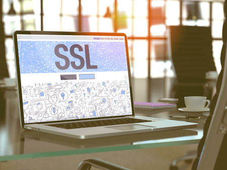 Photo pour SSL - Secure Socket Layer - Concept Closeup on Landing Page of Laptop Screen in Modern Office Workplace. Toned Image with Selective Focus. 3D Render. - image libre de droit