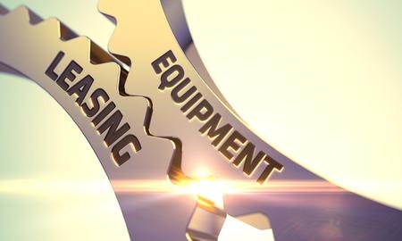 Foto de Equipment Leasing - Concept. Equipment Leasing Golden Cog Gears. Equipment Leasing - Industrial Design. Golden Cogwheels with Equipment Leasing Concept. 3D. - Imagen libre de derechos