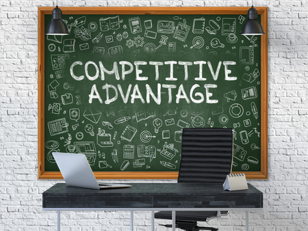 Hand Drawn Competitive Advantage on Green Chalkboard. Modern Office Interior . White Brick Wall Background. Business Concept with Doodle Style Elements. 3D.