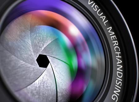 Photo pour Closeup View. Camera Lens with Visual Merchandising Inscription. Colorful Lens Flares on Front Glass. 3D Render. - image libre de droit