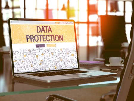 Foto de Data Protection - Closeup Landing Page in Doodle Design Style on Laptop Screen. On Background of Comfortable Working Place in Modern Office. Toned, Blurred Image. 3D Render. - Imagen libre de derechos