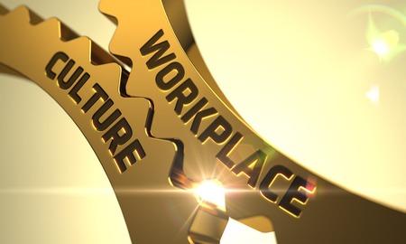 Foto de Workplace Culture on Mechanism of Golden Metallic Cog Gears. 3D Render. - Imagen libre de derechos