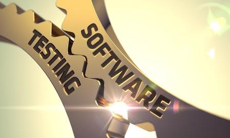 Foto de Software Testing Golden Metallic Cogwheels. 3D Render. - Imagen libre de derechos