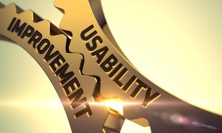 Photo pour Usability Improvement on the Golden Metallic Cogwheels. 3D. - image libre de droit
