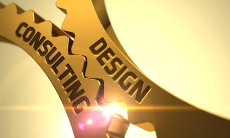 Photo pour Design Consulting on the Mechanism of Golden Gears with Glow Effect. 3D. - image libre de droit