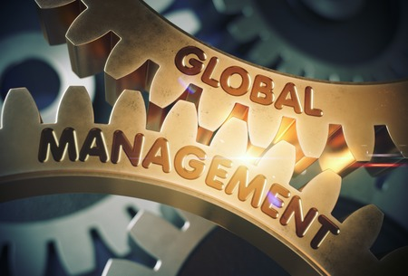 Golden Metallic Gears with Global Management Concept. Global Management on the Golden Cog Gears. 3D Rendering.