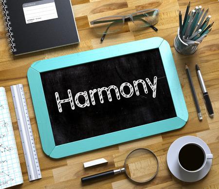 Harmony on Small Chalkboard. 3D.