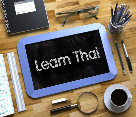 Learn Thai Concept on Small Chalkboard. 3D.