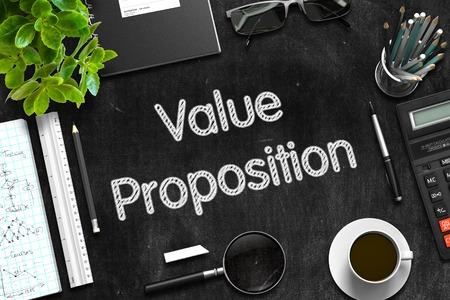 Value Proposition on Black Chalkboard. 3D Rendering.
