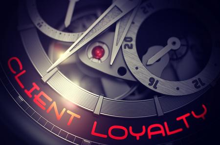 Foto de Elegant Wristwatch with Client Loyalty Inscription on Face. Client Loyalty on the Automatic Wrist Watch, Chronograph Close-Up. Time Concept with Lens Flare. 3D Rendering. - Imagen libre de derechos