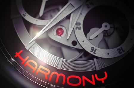 Harmony on Luxury Men Watch Mechanism. 3D.