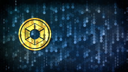 Expanse - Coin Pictogram on Dark Digital Background.