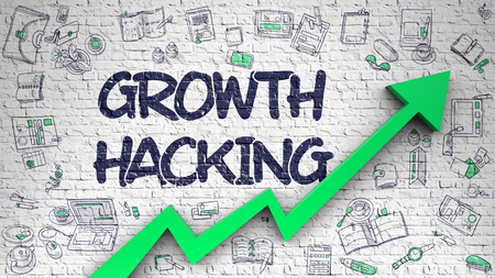 Foto de Growth Hacking Drawn on White Brick Wall. - Imagen libre de derechos