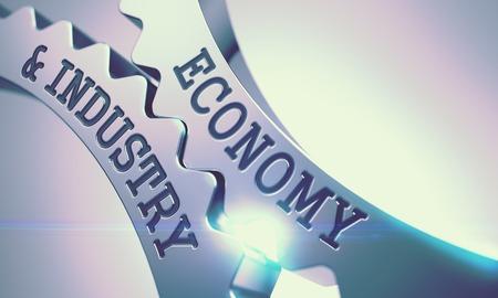 Photo pour Economy And Industry - Mechanism of Metallic Cog Gears. 3D. - image libre de droit