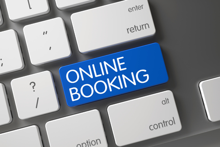 Online Booking - Blue Key on Keyboard. 3D Rendering.