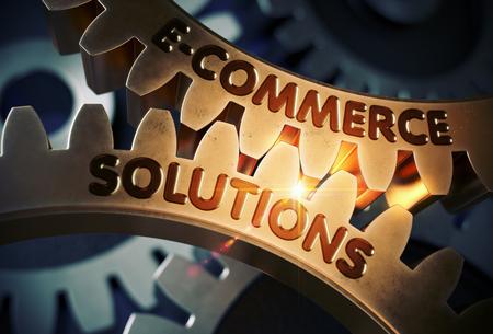Photo pour E-Commerce Solutions on the Golden Cogwheel. 3D. - image libre de droit