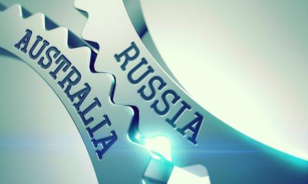 Photo pour Russia Australia - Mechanism of Shiny Metal Cog Gears . 3D . - image libre de droit