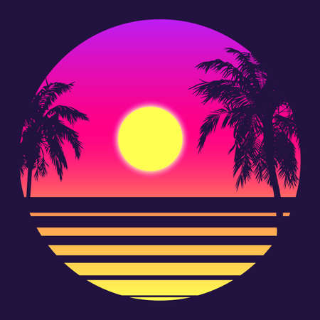 Illustration for Retro 80s Style Tropical Sunset with Palm Tree Silhouette and Gradient Sky Background. Classic 80s Retro Design. Digital Retro Landscape Cyber Surface. 80s Party Background. Trendy Vector Illustration - Royalty Free Image