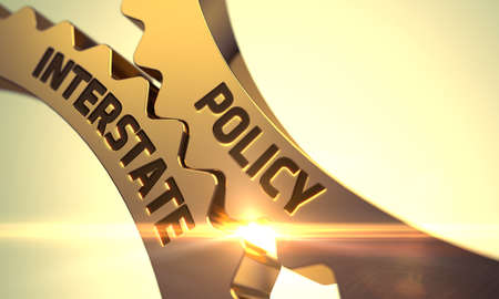 Photo pour Policy Interstateon Golden Metallic Cog Gears. Policy Interstate - Technical Design. Policy Interstate - Concept. Policy Interstate Golden Metallic Gears. 3D Render. - image libre de droit