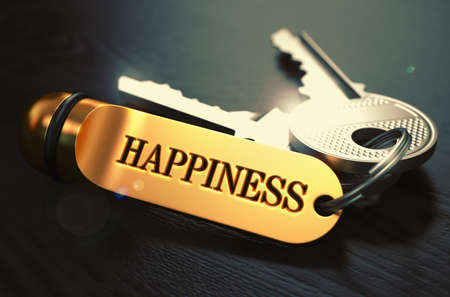Photo for Keys to Happiness - Concept on Golden Keychain over Black Wooden Background. Closeup View, Selective Focus, 3D Render. Toned Image. - Royalty Free Image
