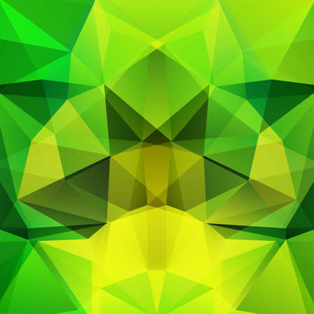 Illustration pour Background made of green, yellow triangles. Square composition with geometric shapes. Eps 10 - image libre de droit