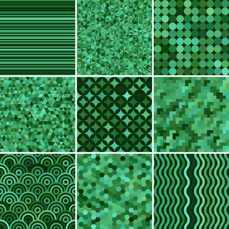 Illustration for Set with nine green seamless abstract geometric pattern, vector illustration - Royalty Free Image
