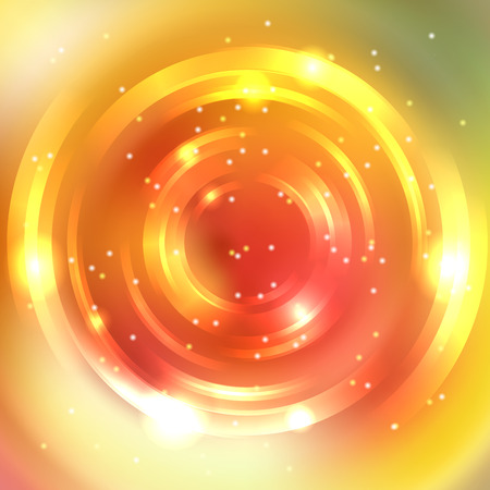 Illustration for Abstract colorful background, Shining circle tunnel. Elegant modern geometric wallpaper. Vector illustration. Yellow, orange colors. - Royalty Free Image