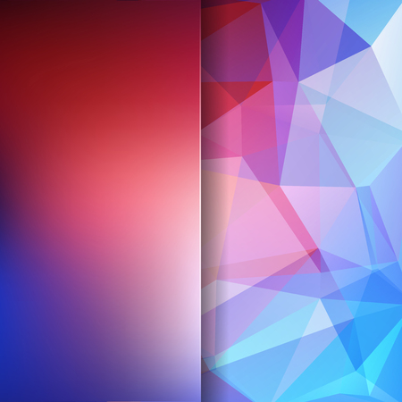 Photo pour Background made of pink, purple, blue triangles. Square composition with geometric shapes and blur element. - image libre de droit