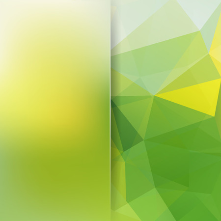 Ilustración de Background made of yellow, green triangles. Square composition with geometric shapes and blur element. - Imagen libre de derechos