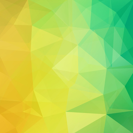 Illustration pour Background made of yellow, green triangles. Square composition with geometric shapes. - image libre de droit