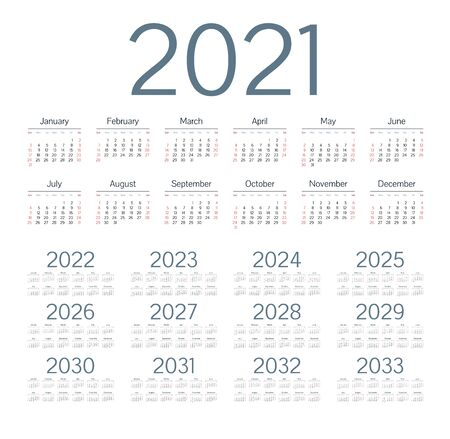 Illustration for English calendar for years 2021-2033, week starts on Sunday - Royalty Free Image
