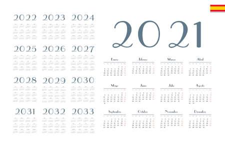 Illustration for Spanish calendar 2021 - 2033 on white background. Start on monday. Vector illustration - Royalty Free Image
