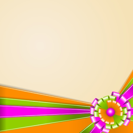 Ribbons of green, orange and pink  Multi-colored bow