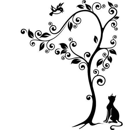 Illustration for Cat under a tree looking at the bird  Black-and-white illustration  - Royalty Free Image