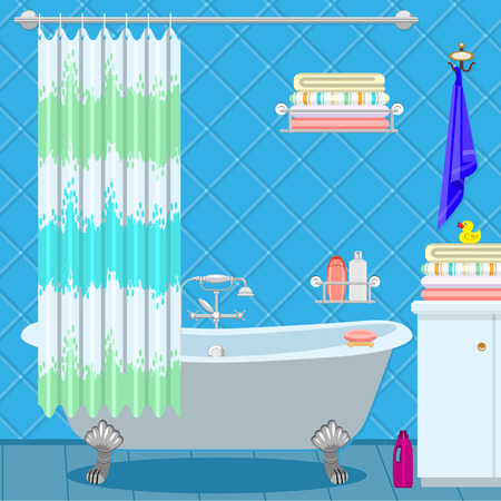 Illustration for Bathroom equipment. Bath on the legs of a blue-green curtain. Shampoo and towels. - Royalty Free Image